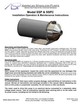 SSPC Operating Instructions