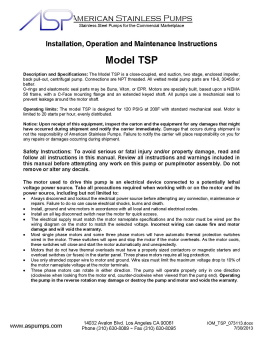 TSP Operating Instructions